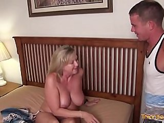 Blonde milf fucking with young guy