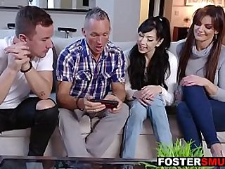 Foster parents foursome fuck daughter and son