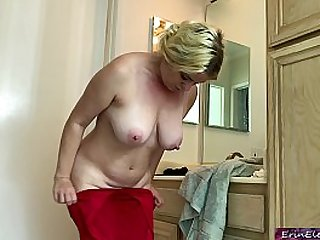 New wife cheats and fucks her stepson while her husband is in the shower