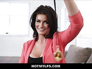Big Tits Horny Brunette MILF Stepmom Hypnotizes Her Son For Sex