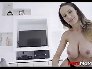 Horny Blonde MILF Stepmom Big Tits Orgasm Family Fucking Her Stepson POV