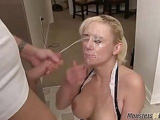 Blonde MILF takes fake gigantic cumshot