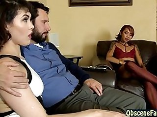 Slutty mom and daughter bang stepdad in threesome
