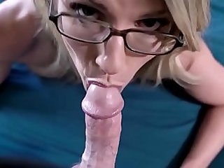 Blonde stepmother taking care of step son
